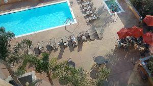 The DoubleTree Downtown Modesto Hotel - view of the pool from my 9th floor window