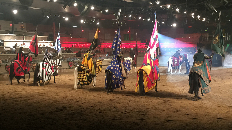 Knights Performing at Medieval Times Dinner Theater