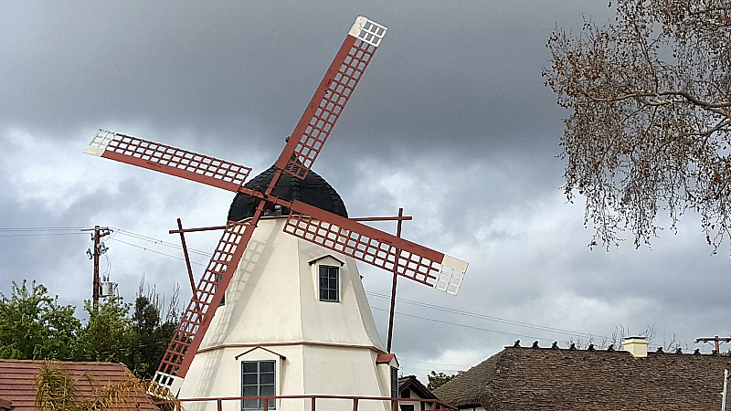 windmill solvang rain clouds