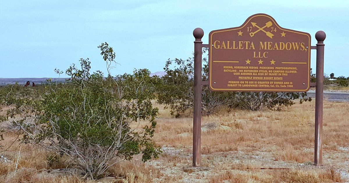 borrego springs galleta meadows llc sign