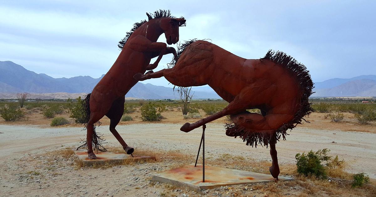 galleta meadows fighting horses sculptures