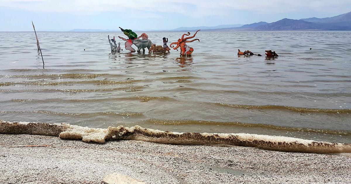 salton sea shore muck art installation
