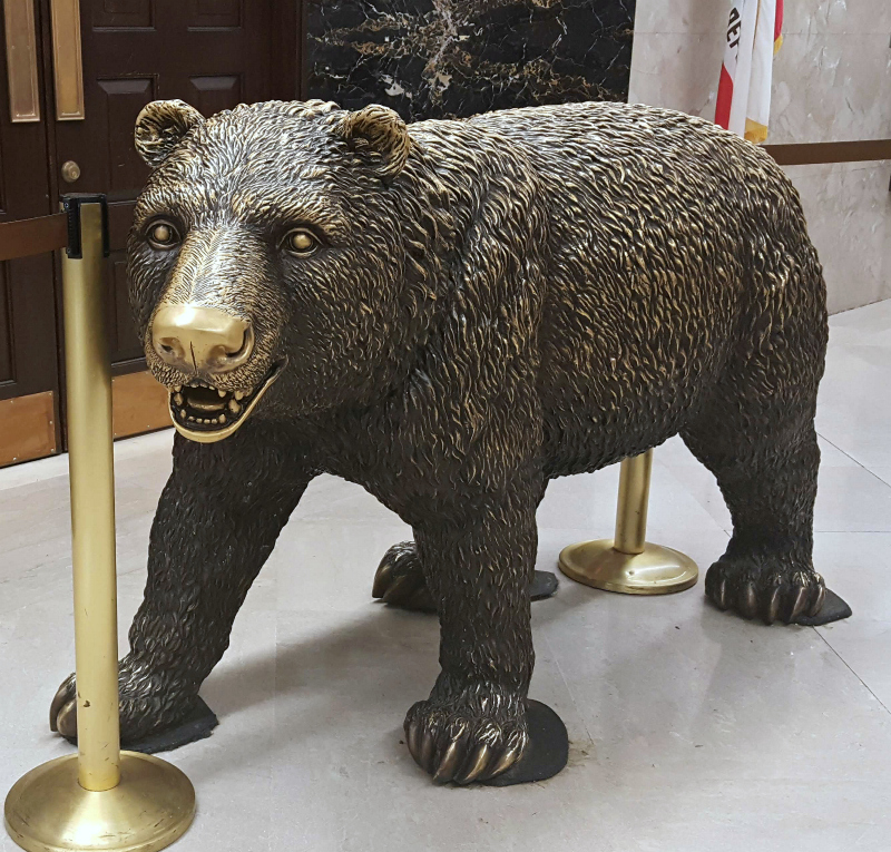 california bear in front of governors office